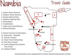 Tourism Map Namibia Travel Guide Things to do