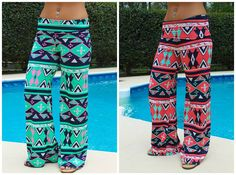 Tribal Queen Palazzo Pants in Coral & Jade $32.99 #SouthernFriedChcis