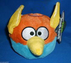 "ANGRY BIRDS SPACE Plush 5"" blue orange THUNDERBOLT Bird w/sound NWT Mint #CommonwealthToys ************SOLD*********"