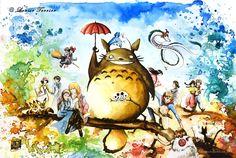 L'artiste française Louise Terrier a réalisé une série d'aquarelles inspirées du studio Ghibli, studio d'animation créé par Hayao Miyazaki et Isao Takahat
