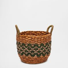 LARGE ROUND NATURAL FIBRE BASKET WITH HANDLES - Baskets - Decoration | Zara Home Belgium