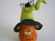 Polymer clay Halloween Jack o' lantern with by HelensClayArt, $10.95