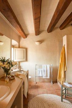 Rustic bathroom with built-in shower_ 00433894 Orange Bathroom Interior, Bathroom Interior Design, Estilo Colonial, Bathroom Heater, Mediterranean Style Homes, Spanish House, Restaurant Interior Design, Farmhouse Chic, Terracotta Floor