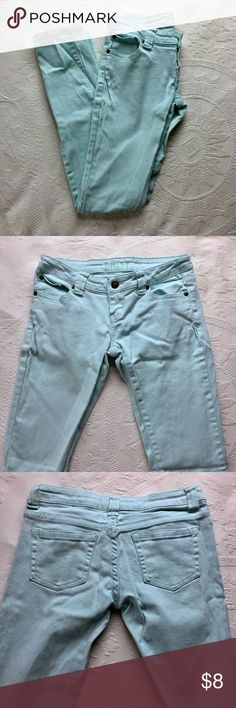Mint Skinny Jeans Mint skinny jeans. Worn a few times. They have small stains from the washing machine (last 4 pictures) they are not too noticeable. delia's Pants Skinny