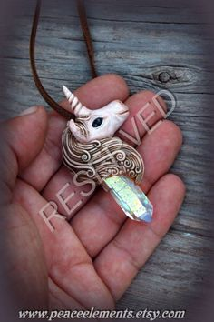 RESERVED for Margarita. Unicorn clay pendant with by PeaceElements