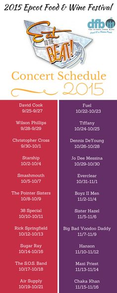2015 Epcot Food & Wine Festival Eat to the Beat Concert Schedule!