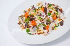 Photo of: A salad of raw and pickled spring vegetables, Pied à Terre, Central London restaurant