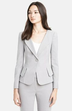 Summer Business Look - Armani Collezioni Single Button Birdseye Jacket available at #Nordstrom