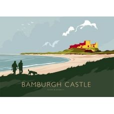 open edition print Bamburgh Castle large by the artist Peter McDermott Nature Posters, Railway Posters, Vintage Travel Posters, Poster Vintage, Cool Posters, Beach Posters, Seascape Paintings, Landscape Illustration, Pictures Images
