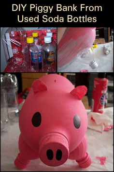 Do you have used soda bottles in a storage cupboard somewhere? Instead of throwing them out, you can easily repurpose them. You can put any intact plastic bottle to good use by turning it into an adorable little piggy bank. We'll show you how in this article. Soda Bottles, Plastic Bottles, Pig Bank, Money Making Crafts, Recycling Ideas, Cupboard Storage, Turning, Repurposed, Kids