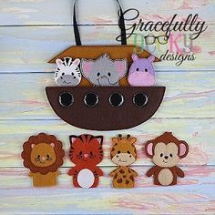 Noah's Ark and Animal Finger puppet set available for purchase at https://www.etsy.com/shop/SchoolhouseBoutique