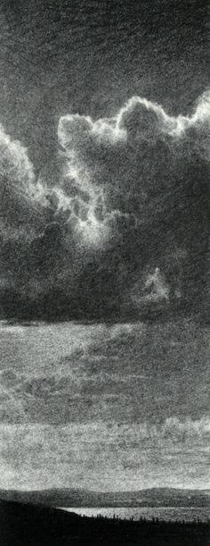 Philip Edwards charcoal 5 x mounted drawing Sky Art, Charcoal, Frames, Clouds, Illustrations, Landscape, Gallery, Drawings, Artist