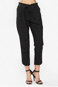 """Pleated crop trouser pants with a self tie at waist side pockets dolphin shape hem line and elastic waist band. Available in two colors: black and sand.  Measurements taken from size S - Waist: 28""""  Tie Waist Pant by Sugar Lips. Clothing - Bottoms - Pants & Leggings - Slim Florida"""