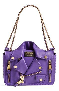Bag designer Moschino 'Biker Jacket' Shoulder Bag available at Moschino 'Biker Jacket' Shoulder Bag available at Purple Handbags, Purple Purse, Purple Bags, Purses And Handbags, Leather Purses, Leather Crossbody, Crossbody Bag, Leather Handbags, Purple Love