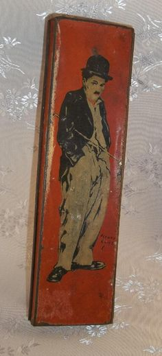 CHARLIE CHAPLIN Antique Tin Pencil Box Case by by TheMaineCoonCat,