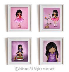Dark skin girls wall art prints set  African american by jolinne, $44.00
