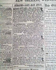 Historic Newspaper with several slave ads:  THE NEW ORLEANS DAILY DELTA, Louisiana, August 30, 1854.