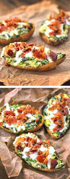 Spinach and Bacon Sweet Potato Skins