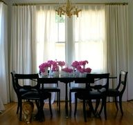 Luscious dining rooms - mylusciouslife.com - Sarah Roads dining room, simple, sophisticated, white drapery, brass rods, vintage hobnail vases, Sciolari chandelier