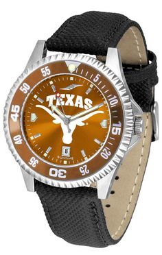 Texas Longhorns Men Competitor Watch With AnoChome Dial, Color Bezel