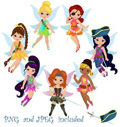 Fairies Pirates Digital ClipArt / Fairy Digital Clip art / Cute Fairies For Personal and commercial use/ Instant Download