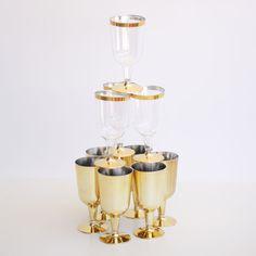 METALLIC GOLD SOLID PLASTIC WINE GLASSES 6OZ 6PCS