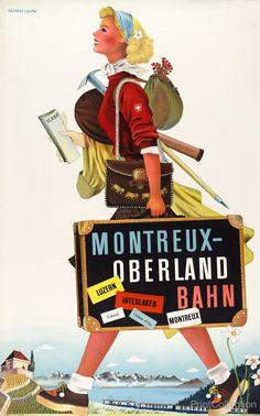 Montreux - Oberland Bahn | PrintCollection, travel poster by Herbert Leupin between 1940-1960.