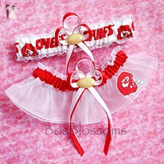 Customizable - Kansas City Chiefs red & white print fabric handmade into bridal prom white organza wedding garter set with football charm - Bridal garters (*Amazon Partner-Link)