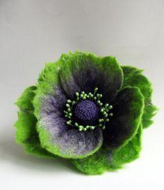 "Felted Flower Brooch, Hair Clip, Wool Felt Jewelry, Green l& Purple Flower, ""A little bit different poppy""(MADE TO ORDER)"