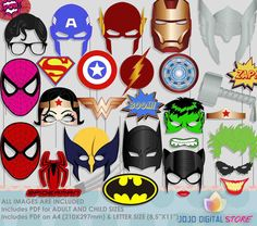 Super Hero Party Photo Booth Props