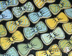 Bow Tie Cookies (in shower colors) Baby Boy Cookies, Man Cookies, Cookies For Kids, Baby Shower Cookies, Iced Cookies, Cute Cookies, Sugar Cookies, Graduation Cookies, Birthday Cookies