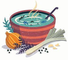 illustration of a soup bowl with hot soup and vegetables - Exercise - Avacado Vegetable Illustration, Japanese Illustration, Flat Illustration, Food Illustrations, Digital Illustration, A4 Poster, Posters, Kids Health, Children Health
