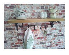 UTENSIL RAIL SHELF - Cast Iron Rail 4 Hooks Chunky Rustic Pine Shelf / Bare Wood - Kitchen Storage Pans, Cups, Jugs, etc