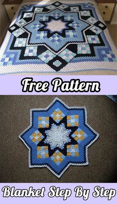 See how to do Patchwork Crochet Blanket – Free Pattern PDF – Blue Star | Blanket | Free Pattern | Baby Blanket | Crafts | DIY | Free Tutorial | Step by Step