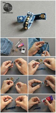 Denim-process-_-Gloria-Fort – my site Getting jeans for from a local charity shop. Diy Denim Earrings, Choker Denim, Bracelet Denim, Gypsy Bracelet, Jean Crafts, Denim Crafts, Fabric Jewelry, Beaded Jewelry, Handmade Jewelry