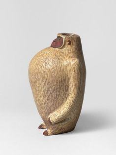 From Thomas Fritsch-ARTRIUM, François Raty, Gorilla Vase (1955), Beige and brown enameled ceramic, with coat decor and dark green eyes, 7 7/25 × 5 3/25 × 4 33/100 in