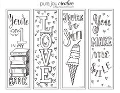Printable Valentine Bookmarks, Bookmarks Kids, Crochet Bookmarks, Coloring Book Pages, Printable Coloring Pages, Bookmark Images, Valentine Coloring Pages, Book Markers, Valentine's Day Quotes