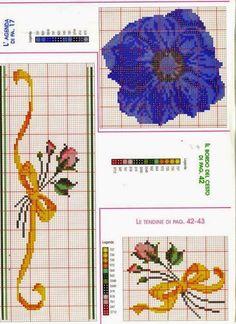 Cross Stitch Boarders, Cross Stitch Bookmarks, Cross Stitch Flowers, Cross Stitch Designs, Cross Stitching, Cross Stitch Embroidery, Needlepoint Stitches, Needlework, Embroidery Patterns