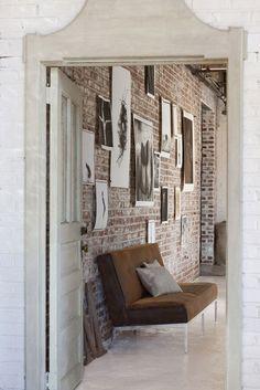 Exposed brick + artwork // Rob Brinson's loft studio via Design Sponge Loft Studio, Dream Studio, Style At Home, Ny Style, Loft Style, Moderne Lofts, Sweet Home, Exposed Brick Walls, Whitewashed Brick