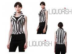 Liquorish Black and White Striped Waistcoat, better than half price now at: https://www.liquorishonline.com/liquorish-black-and-white-striped-waistcoat.html