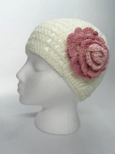 Crochet Hat in White with Pink Crocheted Flower  by toppytoppy, $21.99