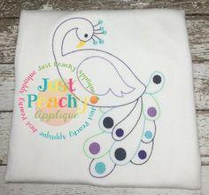 Colorwork Peacock 2 Design www.justpeachyapplique.com