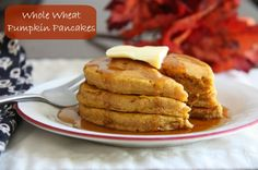 Whole Wheat Pumpkin Pancakes. These were delicious and very moist! Lu and I both loved them. Will make again!