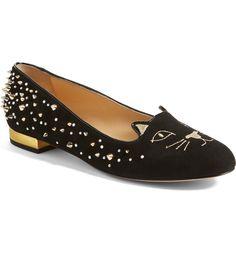 Charlotte Olympia Kitty Studded Flats
