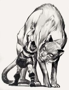 Classic Illustrations from Norse Mythology, one of my favorite stories. Thor is challenged to lift a giant cat from the ground but is unable- the cat is actually the midgard serpant jormungund. Norse Pagan, Pagan Art, Loki And Sigyn, Loki Laufeyson, Viking Facts, Viking Myths, North Mythology, Loki Cat, Giant Cat
