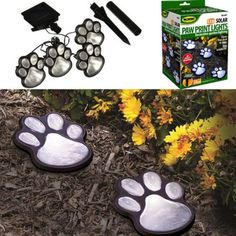 Solar Powered Pure White 4 Dog Animal Paw Print Outdoor LED Fairy String Lights for Garden Garden Lamps, Garden Statues, Holiday Lights, Christmas Lights, Sri Lanka, Puerto Rico, Belize, Solar Led, Led Lampe
