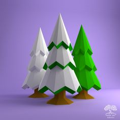 Christmas Tree DIY Papercraft PDF Pattern/ Xmas Low poly paper spruce tree origami/ Snowy conifer for winter holiday decor or adult gifts 3d Paper Art, 3d Paper Crafts, Diy Paper, Snowy Christmas Tree, Etsy Christmas, Christmas Paper, Xmax, Art Addiction, Paper Animals