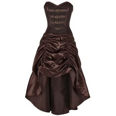 Steampunk Corset Dress (165 AUD) ❤ liked on Polyvore featuring dresses, corsette dress, steampunk dress, corset dress, steam punk dress and brown dress