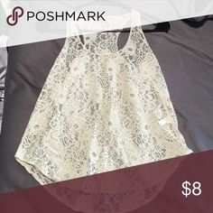 Lace cream tank top Cute laced tank top. Item eligible for FREE with any purchase from my store! Collective Concepts Tops Tank Tops
