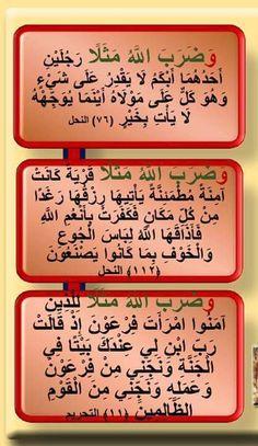 """""""وضرب الله مثلا"""" (بزيدة واو) بداية آية ٣ مرات فى القرآن فى النحل مرتان ٧٦ - ١١٣ والتحريم ١١١."""